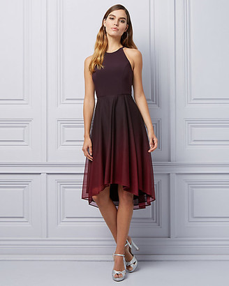 Le Château Ombre Sheer Knit High-Low Cocktail Dress