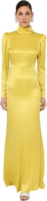 Alessandra Rich Long Embellished Satin Turtleneck Dress