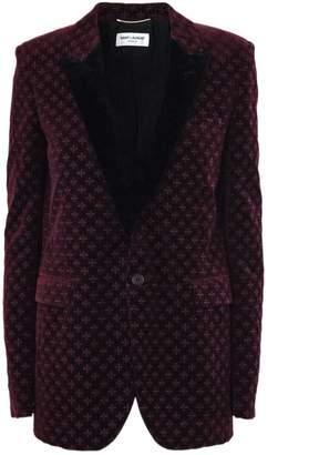Saint Laurent Star Embroidered Burgundy Velvet Jacket.
