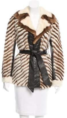 Leather-Trimmed Mink Coat