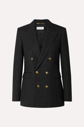Saint Laurent Double-breasted Pinstriped Wool Blazer - Black