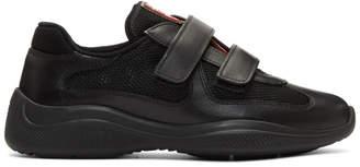 Prada Black Leather & Mesh Velcro Sneakers