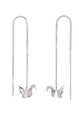 Origami Jewellery Swan Silver Chain Earrings
