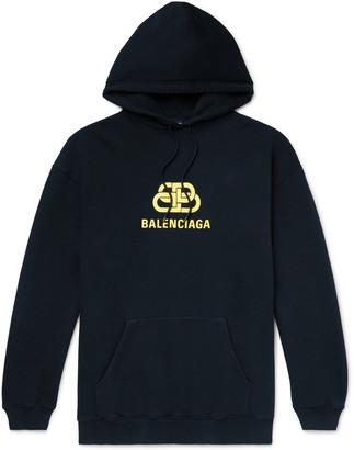 Balenciaga Oversized Logo-Print Loopback Cotton-Jersey Hoodie - Men - Blue