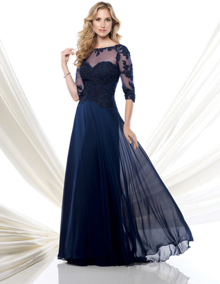 Montage by Mon Cheri - Long Chiffon Dress with Beaded Lace 115968 $498 thestylecure.com
