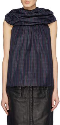 Marc Jacobs Ruffle yoke tartan plaid silk sleeveless blouse