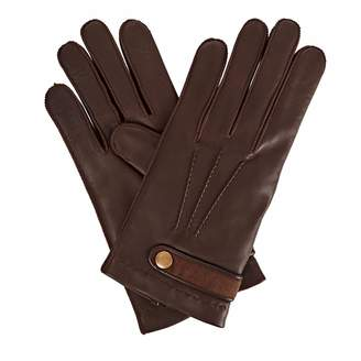 Gizelle Renee - Alfie Mens Brown Leather Gloves With Coffee Cashmere