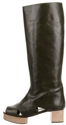 Marni Peep-Toe Leather Boots Green Peep-Toe Leather Boots