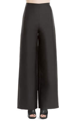 Max Studio heavy satin high-waisted wide legged trousers