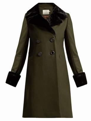 Goat Giles faux fur-trimmed wool-blend coat