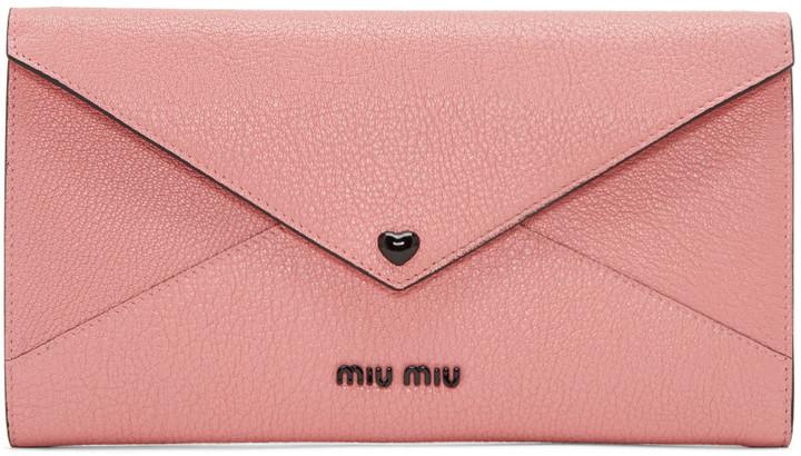 Miu MiuMiu Miu Pink Heart Envelope Pouch