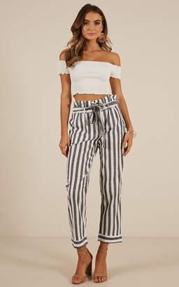 Showpo Santiago pants in grey stripe linen look