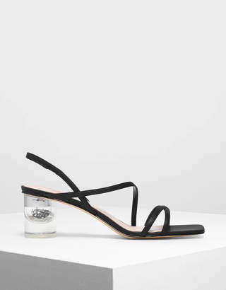 Charles & Keith Asymmetric Strap Lucite Heel Sandals