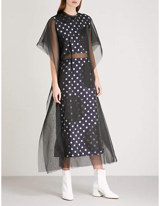 Dotted chiffon and jacquard dress