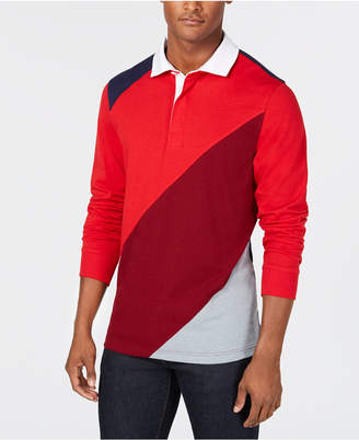 Club Room Men's Chambray-Back Colorblocked Rugby Shirt, Created for Macy's