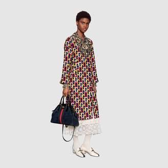 Gucci Silk dress with lace stripe