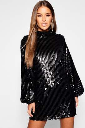 boohoo Petite Stripe Sequin Blouson Sleeve Shift Dress