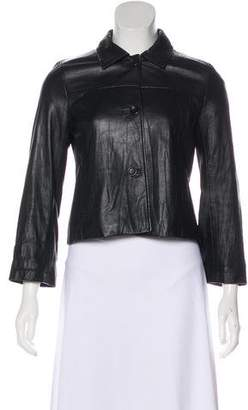 Theory Button-Up Leather Jacket