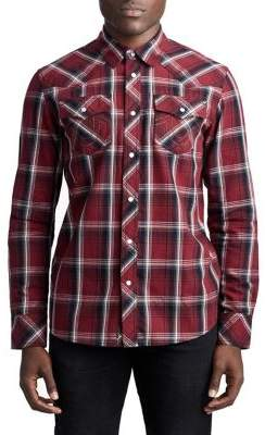 True Religion MENS PLAID WESTERN BUTTON UP SHIRT