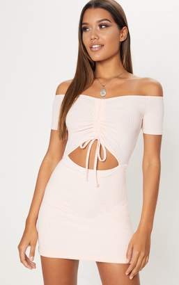PrettyLittleThing Dusty Pink Ruched Front Bardot Bodycon Dress