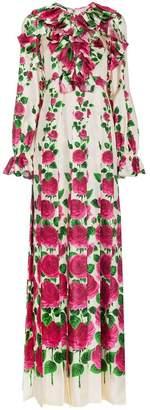 Gucci Silk Rose Garden Print Gown