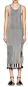 Altuzarra Women's Lutetia Striped Rib-Knit Midi-Dress - Blk, Wht