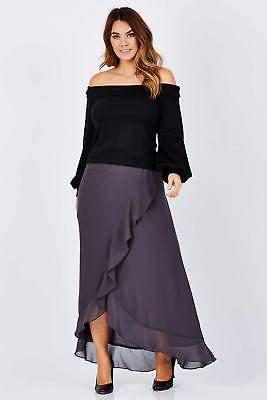 NEW bird by design Womens Long Skirts The Crossover Maxi Skirt DarkGrey
