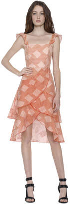 Alice + Olivia Azura Waterfall Ruffle Midi Dress