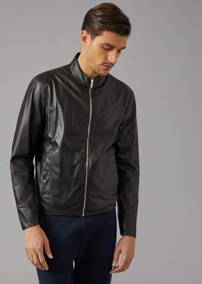 Giorgio Armani Biker Jacket In Matt Nappa Leather