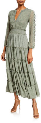 MISA Los Angeles Hadeya Printed Long-Sleeve Tiered Maxi Dress