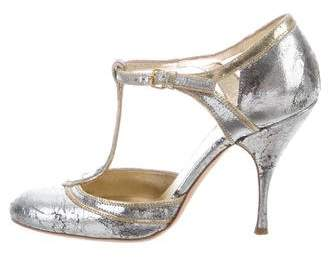 Miu Miu Metallic Round-Toe Pumps