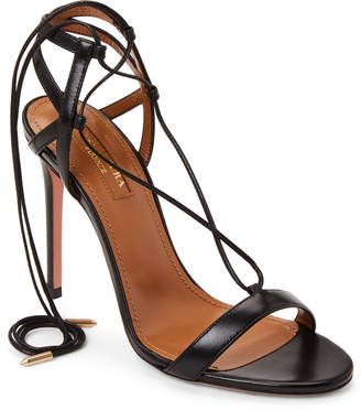 Aquazzura Black Lace-Up Leather Sandals