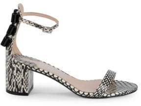 Salvatore Ferragamo Connie Snakeskin Block Heel Sandals
