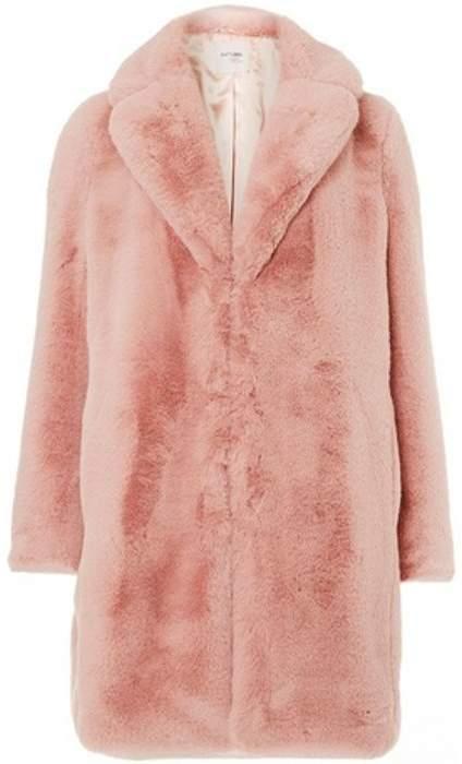 Womens Pink Faux Fur Coat