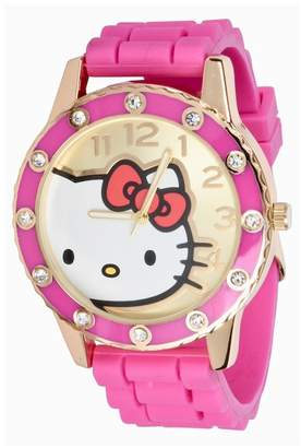 Hello Kitty Women's Crystal Accented Rubber Strap Watch