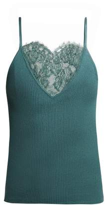 Roche Ryan Lace Trimmed Ribbed Knit Cashmere Camisole - Womens - Dark Green