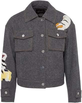 Angel Chen Tiger graphic appliqué unisex denim jacket