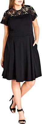 City Chic Dark Mistress Lace Yoke A-Line Dress