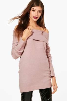 boohoo Georgia Soft Knit Bardot Tunic