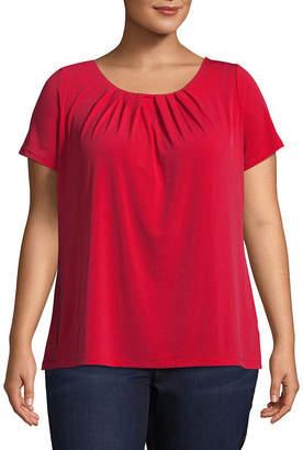 Liz Claiborne Short Sleeve Pleat Neck Tee - Plus