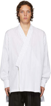 D by D White Striped Kimono Shirt