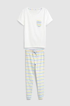 ea47e00a2b Next Womens White Cotton Rich Stripe Pyjamas With Ribbon Wrapping