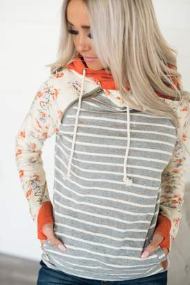 Ampersand Avenue *Exclusive Baseball DoubleHood Sweatshirt - Orange Floral Accent