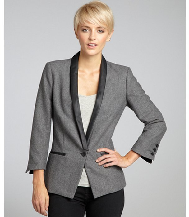 Walter grey and black 'Heather' faux leather accented blazer