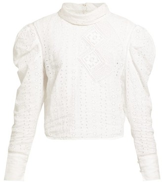 Isabel Marant Qyandi Puffed Sleeve Broderie Anglaise Blouse - Womens - White