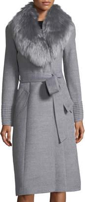 Sentaler Baby Alpaca Belted Long Coat w/ Fur Collar