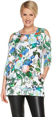 Women With Control Attitudes by Renee Jersey Cold Shoulder Tunic with Pockets