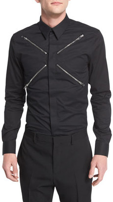 Givenchy Zip-Collar Long-Sleeve Shirt, Black $595 thestylecure.com