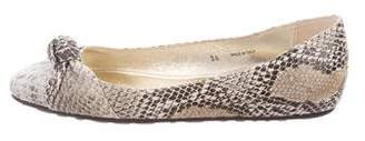 Jimmy Choo Snakeskin Knotted Flats w/ Tags
