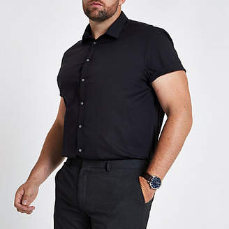 River Island Mens Big and Tall Black poplin slim fit shirt
